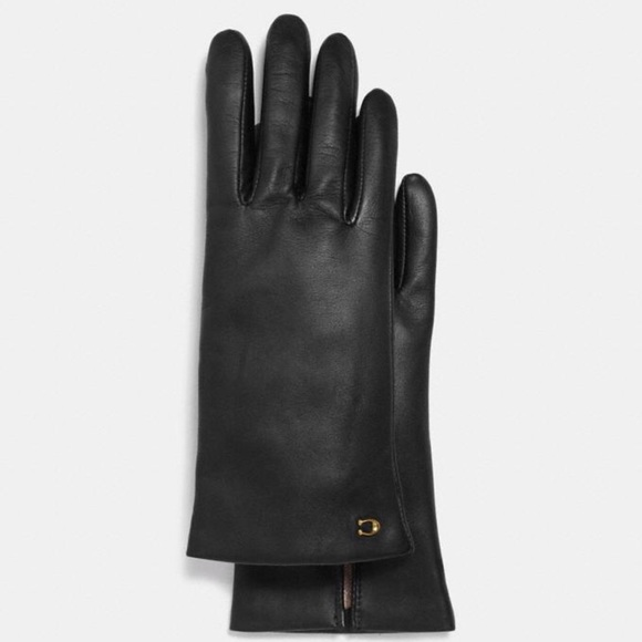 Coach Sculpted Signature Leather Tech Gloves